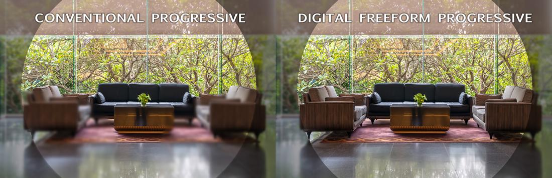digital progressive lenses and regular progressive lenses visibility