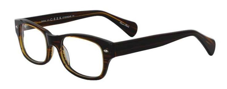 Prescription Glasses Model GEEK111-BROWN-STRATA-45