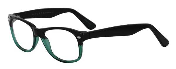 Prescription Glasses Model RAD09-BLACK-GREEN-45