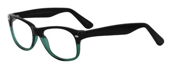 Prescription Glasses Model RAD09-BLACK-GREEN-45