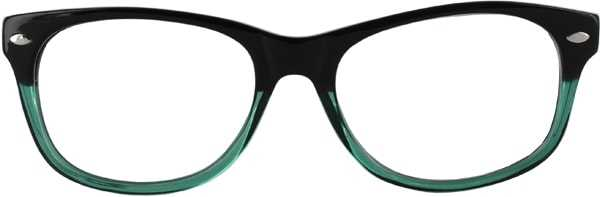 Prescription Glasses Model RAD09-BLACK-GREEN-FRONT