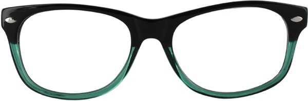 Prescription Glasses Model RAD09-BLACK-GREEN-FRONT