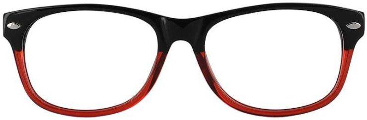Prescription Glasses Model RAD09-BLACK-RED-FRONT