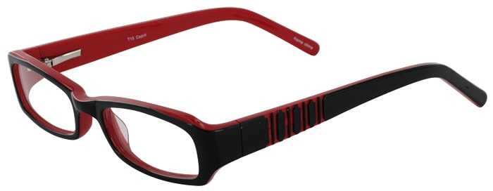 Prescription Glasses Model T15-BLACK RED-45