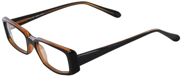 Prescription Glasses Model U14-BLACK AMBER-45