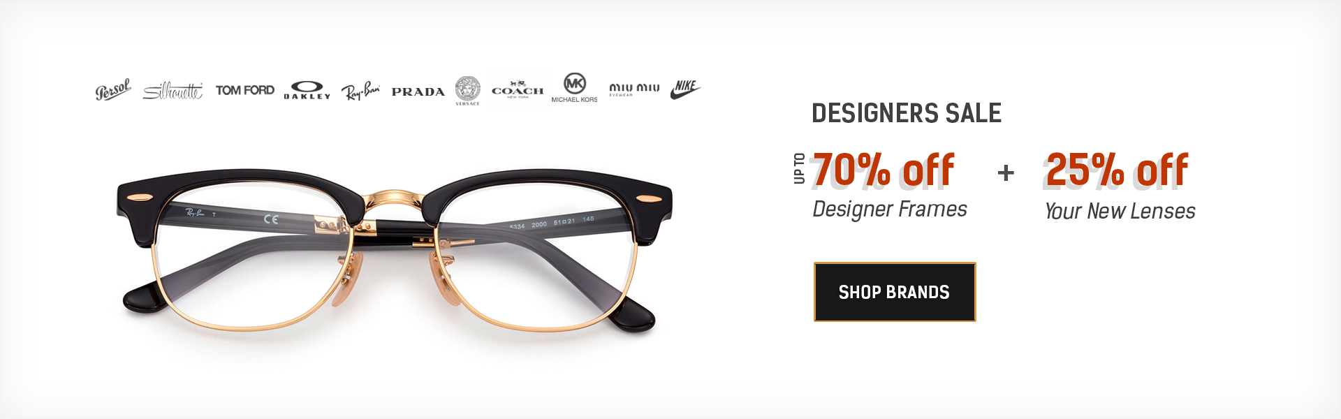 Designer glasses sale 70% off
