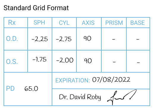 Standard Grid Glasses Prescription