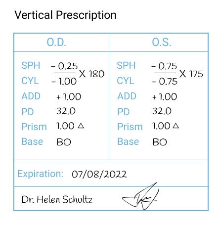 Vertical Prescription of Glasses